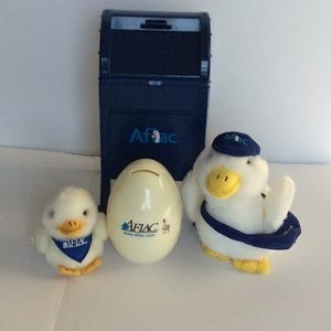 Aflac stuffed duck mailbox egg coin bank keychain